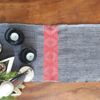 Cotton Table Runner Grey & Coral Handwoven