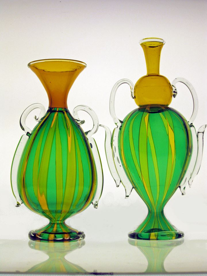 Yellow and Green Vase pair