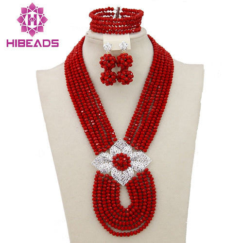 African Bridal Bead Necklace Set Costume