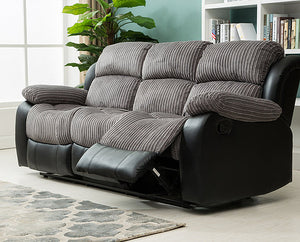 Concorde Recliner 3 + 2 Sofa Suite- Grey/Black