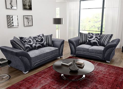 Farrow 3 + 2 Seater Bonded Leather/Fabric Sofa Suite - Grey/Black