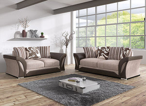 Farrow 3 + 2 Seater Bonded Leather/Fabric Sofa Suite - Brown/Coffee