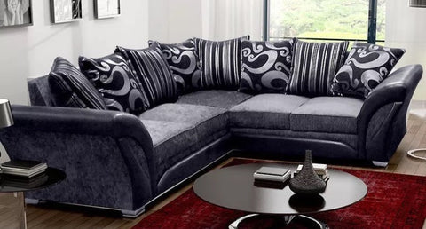 Farrow 2C2 Fabric Corner Sofa- Grey/Black