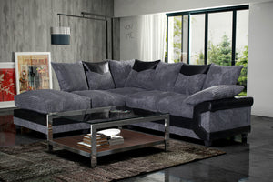 Dino Jumbo Cord/Fabric Corner Sofa - Black/Grey