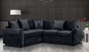 CRUSHED VELVET SILVER 2C2 CORNER SOFA WITH SCATTER CUSHIONS-BLACK
