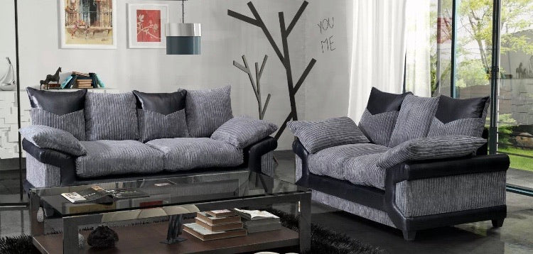 Dino jumbo cord 3 + 2 Seater Sofa Set- Grey/Black