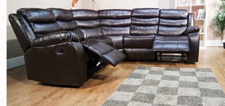 Vista Corner Air Leather Recliner Sofa- Brown