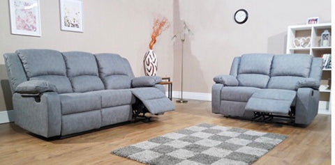 Amber 3 + 2 Seater Fabric Recliner Sofa Suite- Grey