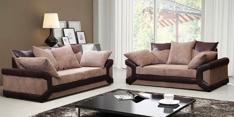 Dino jumbo cord 3 + 2 Seater Sofa Set- Brown/Coffee