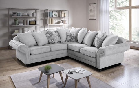 Nicole Corner Sofa with Scattered Cushions in Silver