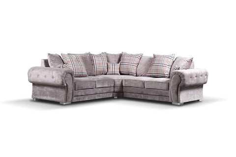 Verona Fabric Chesterfield Corner Sofa In Mink With Scatted cushions