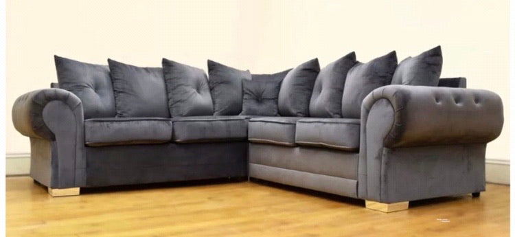 PLUSH VELVET GREY CORNER 2c2 SOFA WITH SCATTER CUSHIONS-GREY
