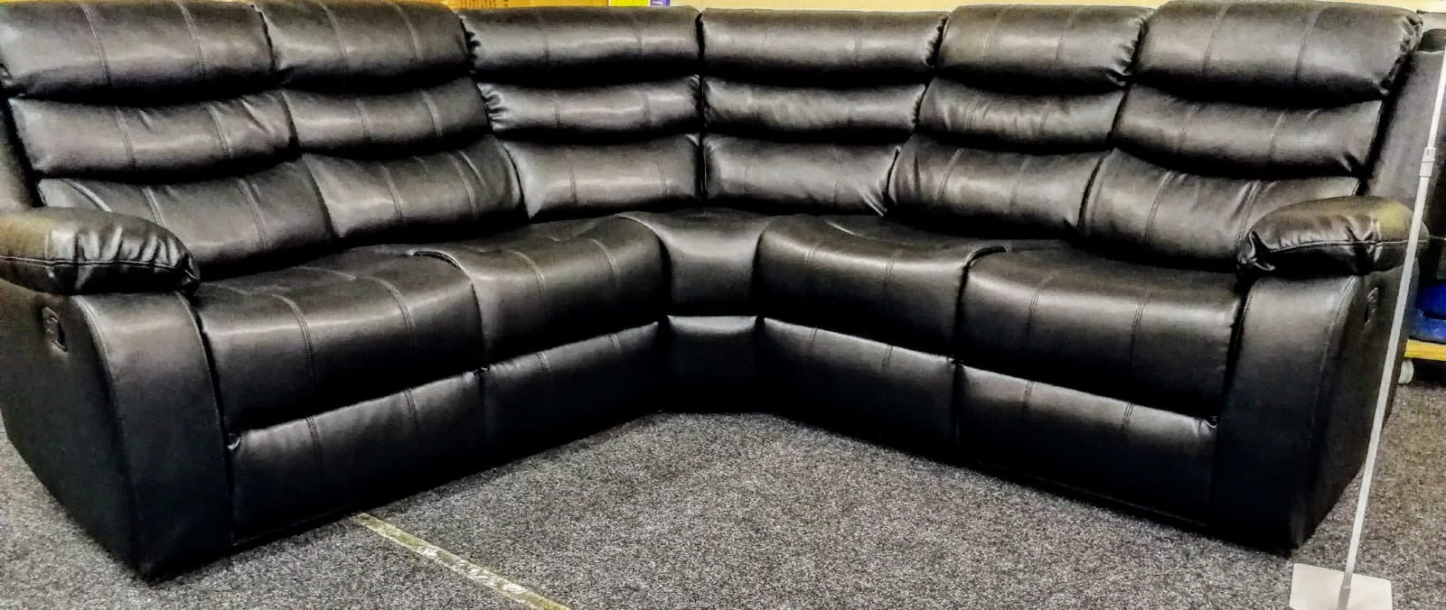 Vista Corner Air Leather Recliner Sofa- Black