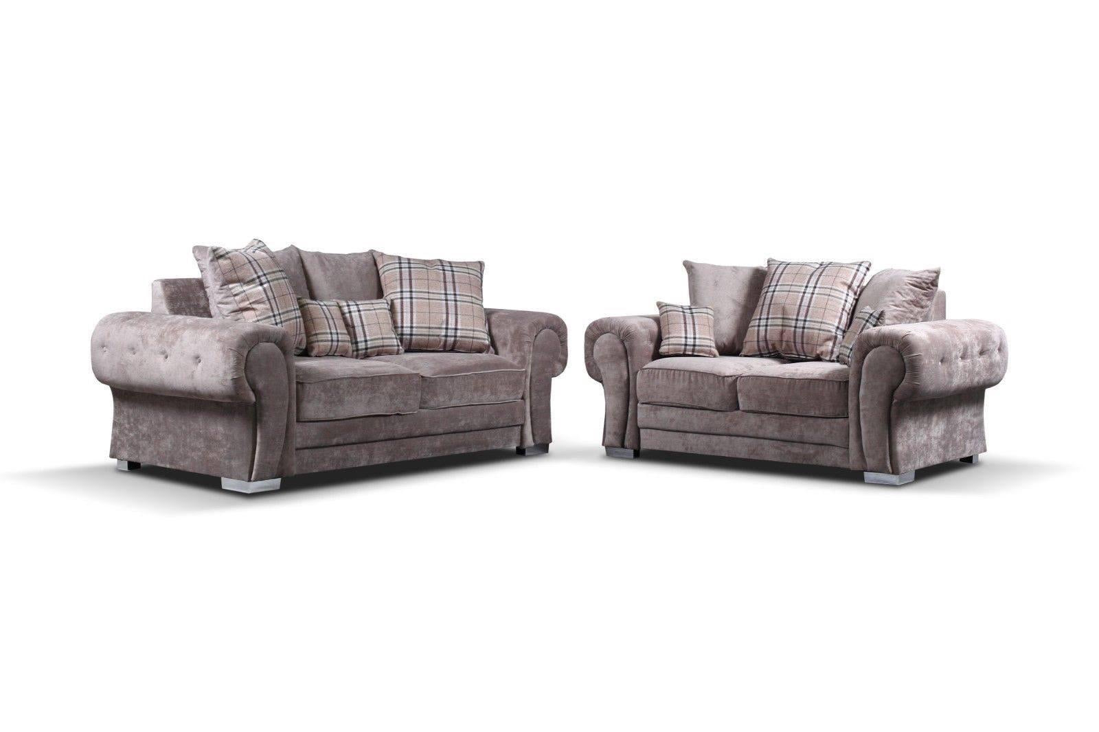 Verona 3 + 2 Sofa Set with Scattered Cushions in Mink