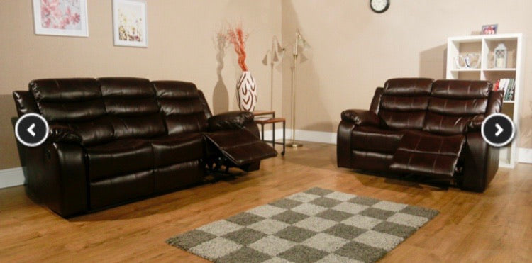 Vista 3 + 2 seater Air Leather Recliner Sofa Suite - Brown