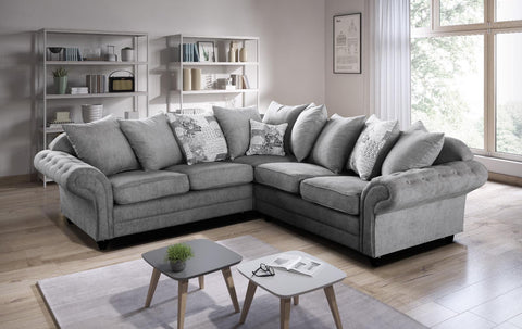 Nicole Corner Sofa with Scattered Cushions in Grey