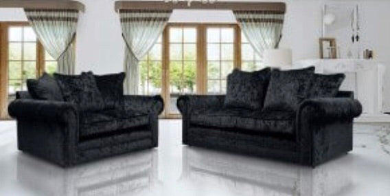 3 + 2 Seater Crushed Velvet Sofa set - black