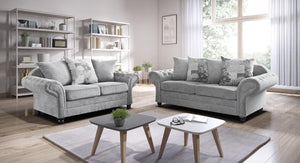 Nicole 3 + 2 Sofa Set with Scattered Cushions in Silver