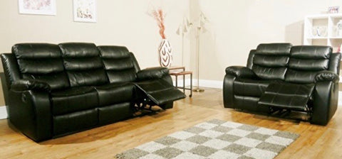 Vista 3 + 2 seater Air Leather Recliner Sofa Suite - Black
