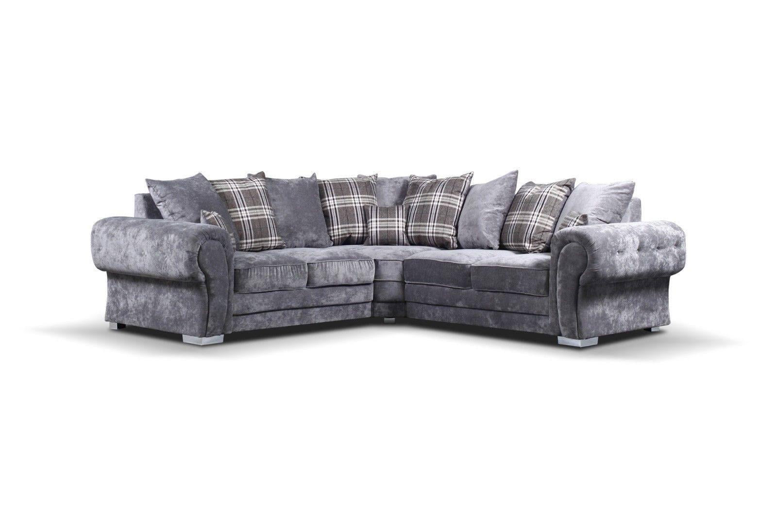 Verona Fabric Chesterfield Corner Sofa In Grey With Scatted cushions