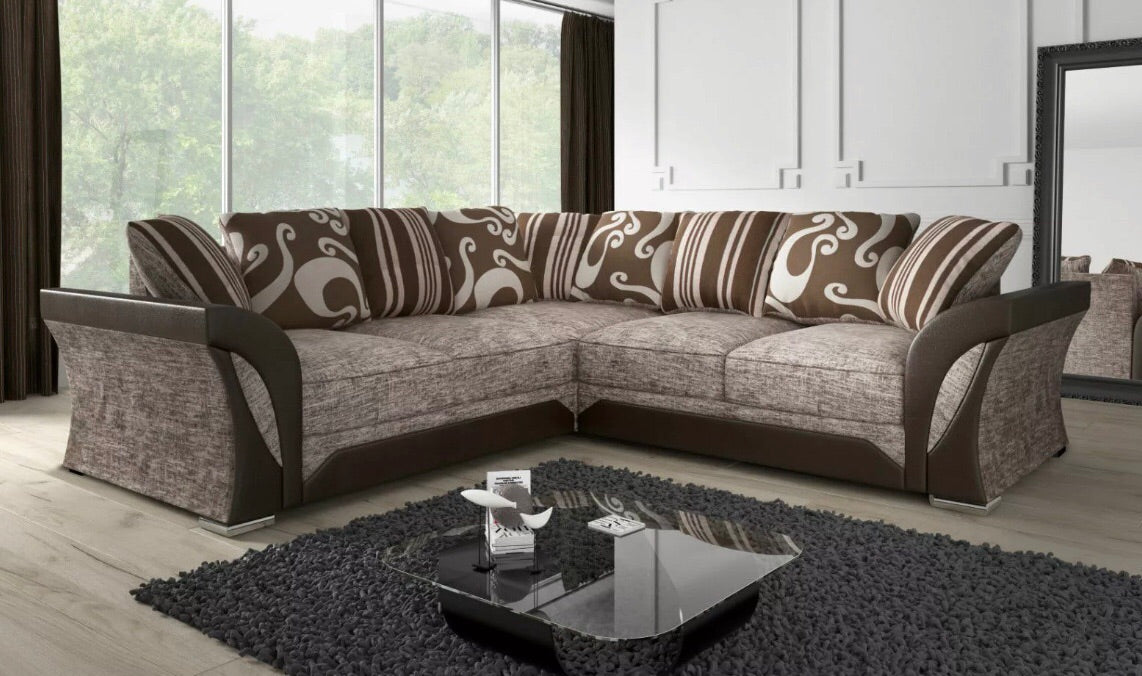 Farrow 2C2 Fabric Corner Sofa- Brown/Coffee