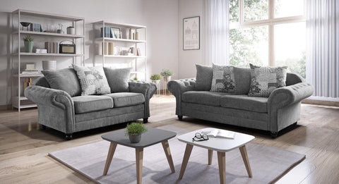 Nicole 3 + 2 Sofa Set with Scattered Cushions in Grey