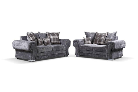 Verona 3 + 2 Sofa Set with Scattered Cushions in Grey