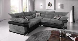 Logan jumbo Cord 2C2 Fabric Corner Sofa- Grey/Black