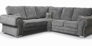 Verona Fabric Chesterfield Corner Sofa In Grey With Big Back Cushion Arm Studs