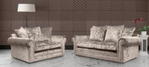 3 + 2 Seater Crushed Velvet Sofa set - mink