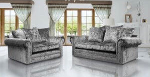3 + 2 Seater Crushed Velvet Sofa set - silver