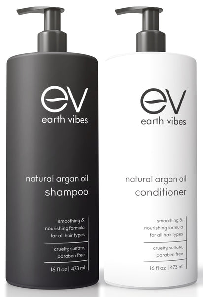 Earth Vibes Argan Oil Shampoo & Conditioner Set Paraben, Sulfate & Cruelty free 16oz