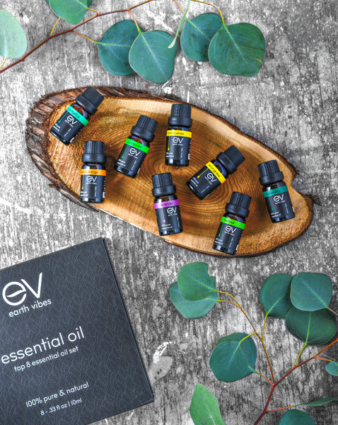 Earth Vibes Aromatherapy Top 8 Essential Oils Set - 100% Pure & Natural