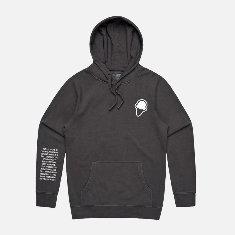 FLAVORS ESSENTIALS HOODIE - WASHED BLACK - FLAVORS
