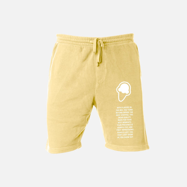 FLAVORS ESSENTIALS SWEATSHORT - WASHED BUTTER - FLAVORS