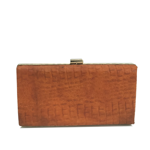 Hope Clutch (Burnt Orange Crocodile Print)