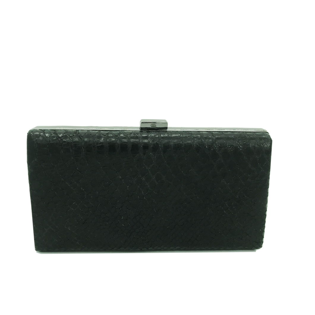 Hope Clutch (Black Python Snake Print)