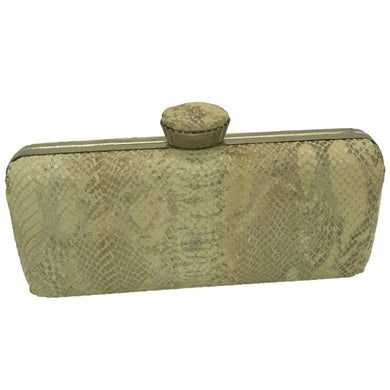 Faith Clutch (Cream/Beige Snake skin Print)