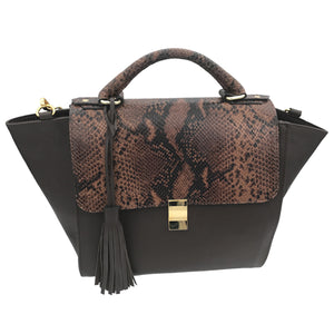 Salema Bag (Chocolate Brown Snake Print Calf skin)