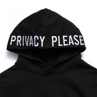 Privacy Please Embroidered Hoodie Black