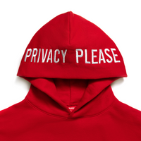 Limited Edition Privacy Please Embroidered Hoodie Standard Red - Shop The Standard
