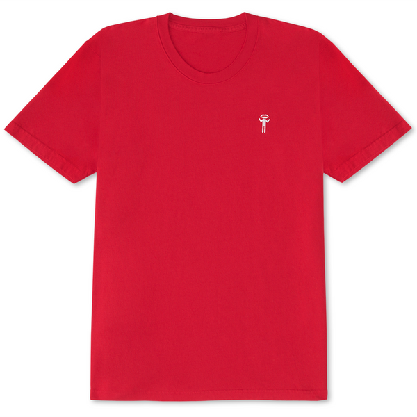 Lip Head Embroidered T-Shirt Red