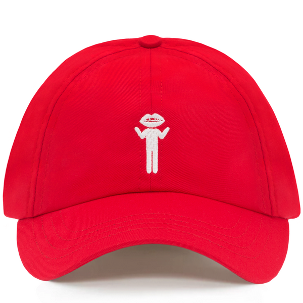 Lip Head Embroidered Dad Hat Red