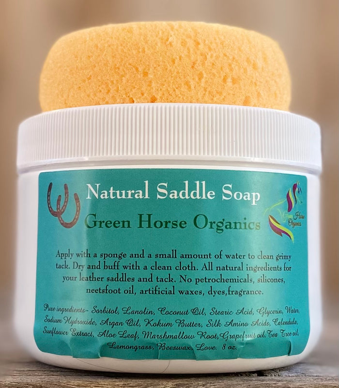 Green Horse Organics Natural Saddle Soap (8 oz Jar with Tack Sponge)