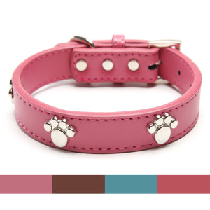 Leather Paw Studded Collars