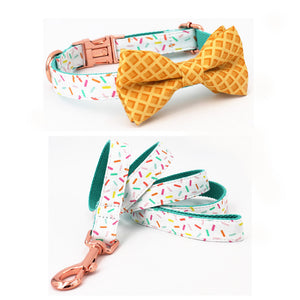 Frenchie Corner® Sprinkles Printer Collar, Leash & Bowtie