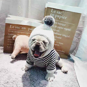 WINTER WARM STRIPED POMPOM HOODIE by Frenchie Corner®
