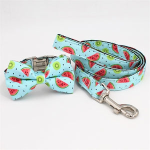 Frenchie Corner® Watermelon Printer Collar, Leash & Bowtie