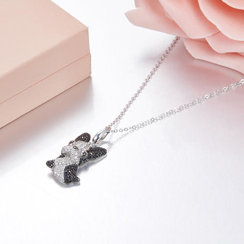 Frenchie Corner® .925 Sterling Silver Necklace with Zircons
