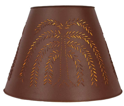 9x17x12 Willow Tin Washer Top Lamp Shade - Red